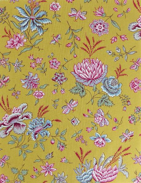 Tissu de provence au m tre boutis jaune floral - Boutis provencal ancien ...
