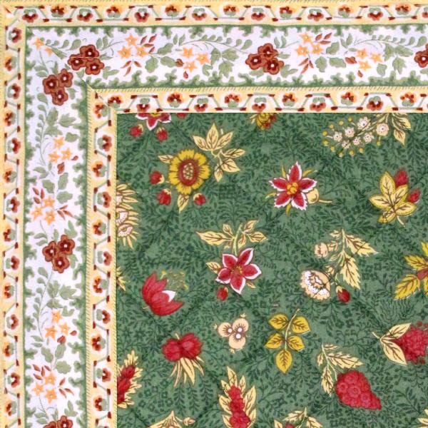 Chemin de table proven al tissu matelass vert floral - Chemin de table boutis ...