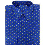 Chemise Camarguaise manches longues bleue motifs Gardiano