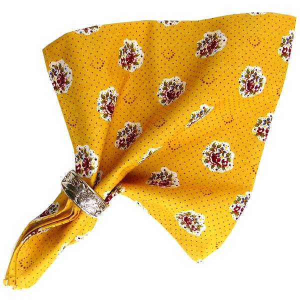 serviette de table tissu proven al jaune motif fleurette. Black Bedroom Furniture Sets. Home Design Ideas