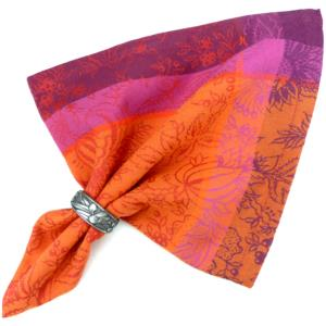 Serviette de table jacquard rouge colombe orange