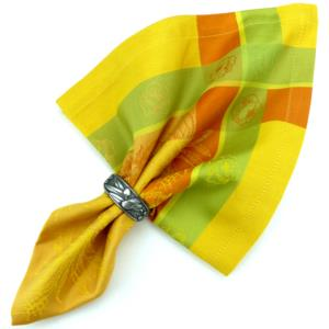 Serviette de table jacquard orange épis jaune