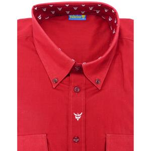 Chemise Camarguaise manches longues rouge motifs Gardiano